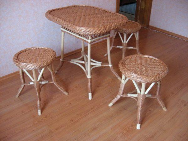 Прямоугольный стол и табуреты